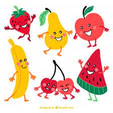 Pack of happy fruit characters | Free Vector